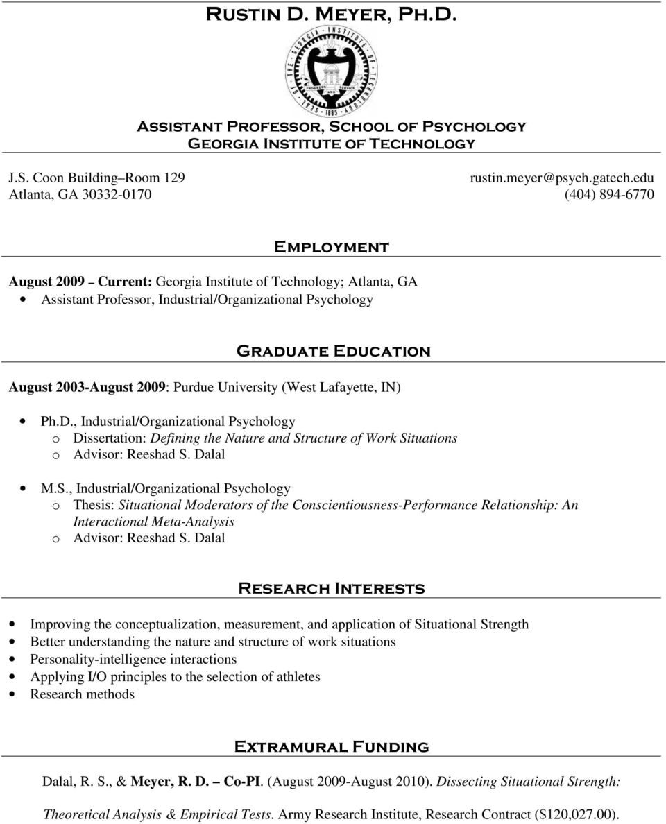 industrial organizational psychology thesis Industrial/organizational psychology: diversity and discrimination in the workplace, occupational health psychology, cross-cultural issues at work lydia craig employee well-being, career decision-making, friendship, leisure.