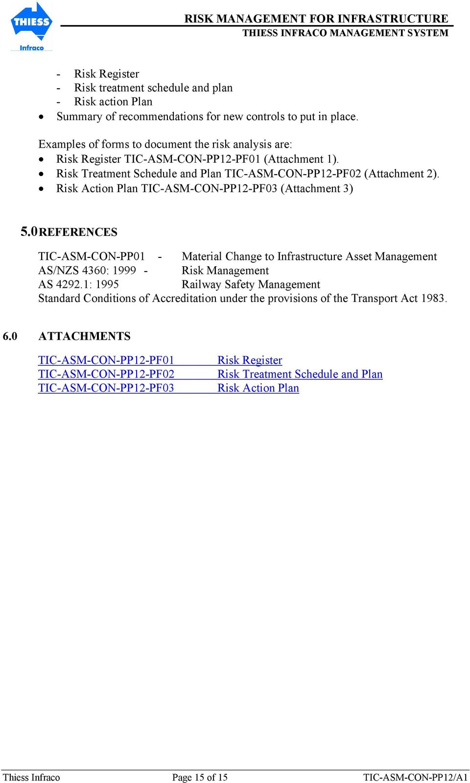 Risk Action Plan TIC-ASM-CON-PP12-PF03 (Attachment 3) 5.0 REFERENCES TIC-ASM-CON-PP01 - Material Change to Infrastructure Asset Management AS/NZS 4360: 1999 - Risk Management AS 4292.