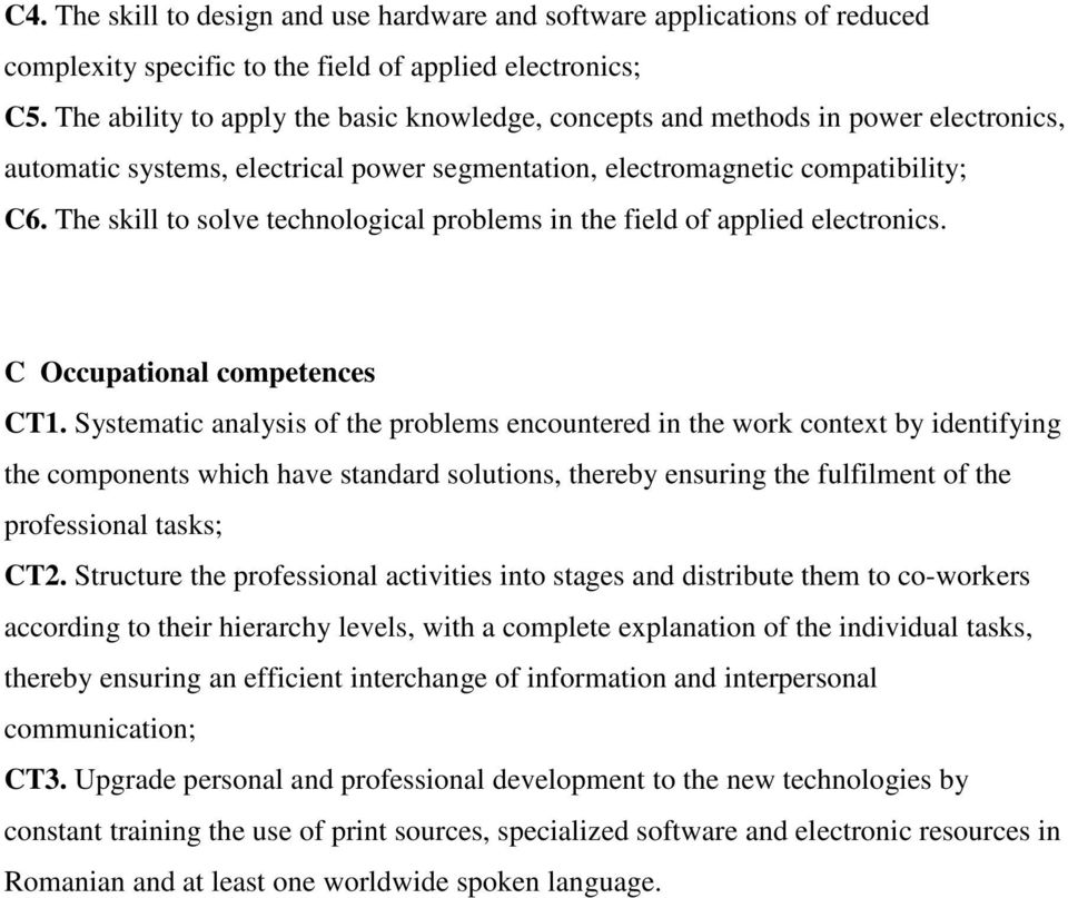 The skill to solve technological problems in the field of applied electronics. C Occupational competences CT1.