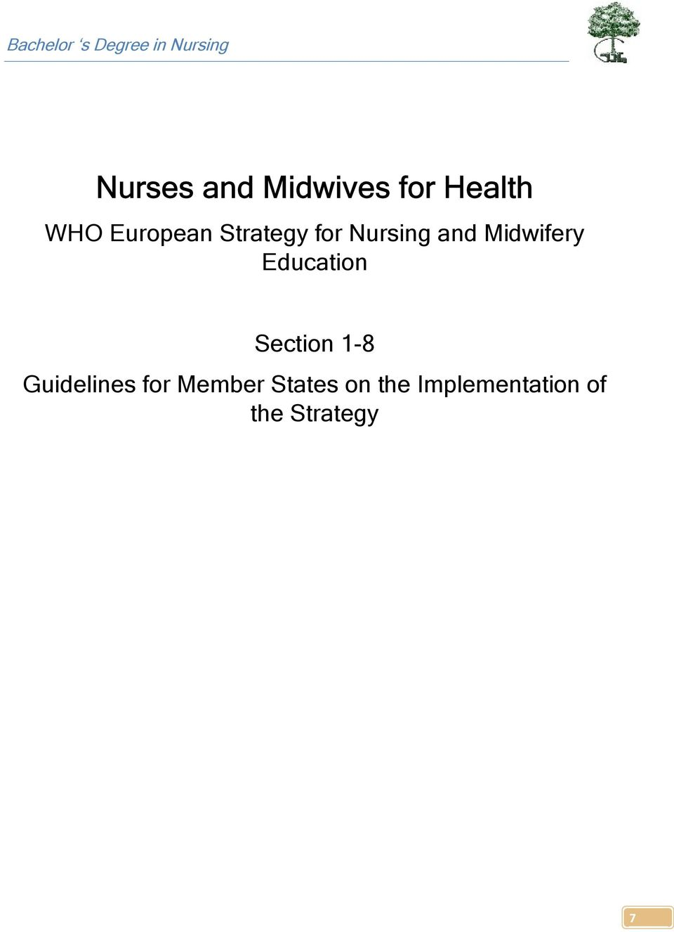 Midwifery Education Section 1-8 Guidelines