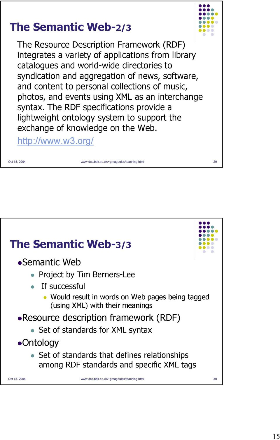 The RDF specifications provide a lightweight ontology system to support the exchange of knowledge on the Web. http://www.w3.org/ Oct 15, 2004 www.dcs.bbk.ac.uk/~gmagoulas/teaching.