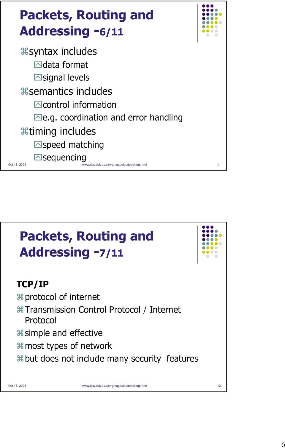 html 11 Packets, Routing and Addressing -7/11 TCP/IP protocol of internet Transmission Control Protocol / Internet Protocol