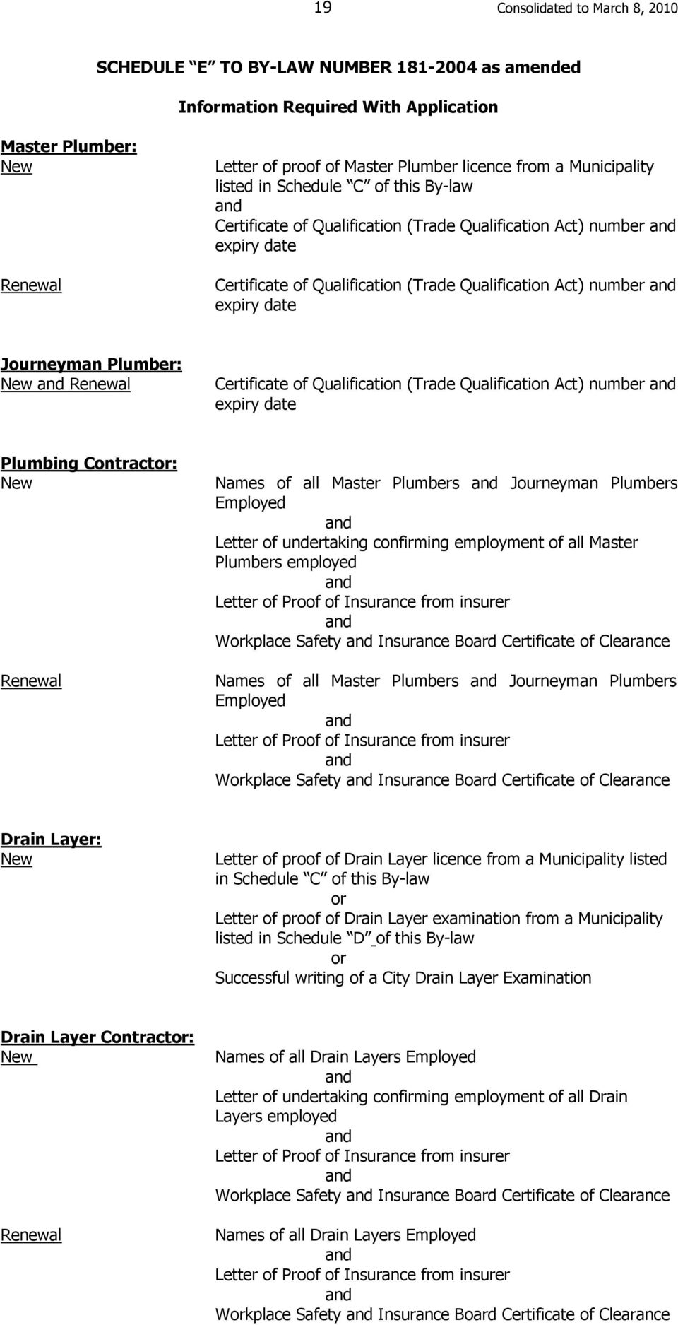 Journeyman Plumber: New Renewal Certificate of Qualification (Trade Qualification Act) number expiry date Plumbing Contractor: New Renewal Names of all Master Plumbers Journeyman Plumbers Employed