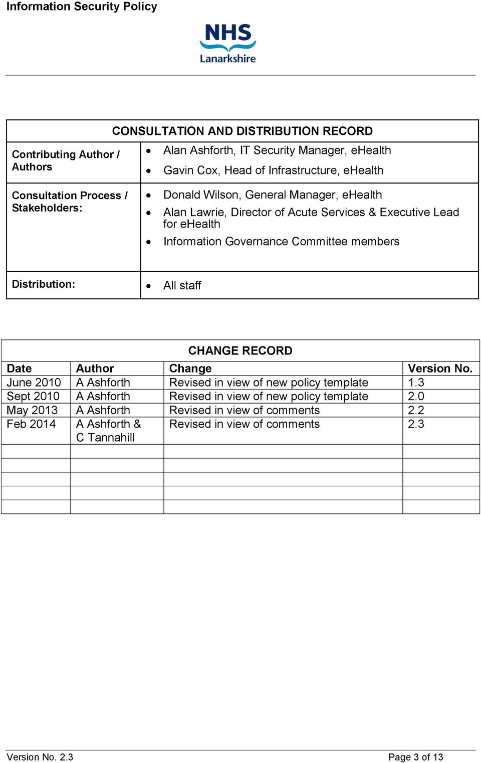 members Distribution: All staff CHANGE RECORD Date Author Change Version No. June 2010 A Ashforth Revised in view of new policy template 1.
