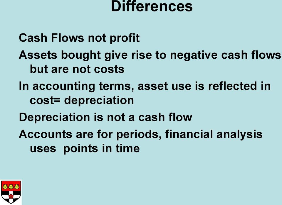 use is reflected in cost= depreciation Depreciation is not a cash