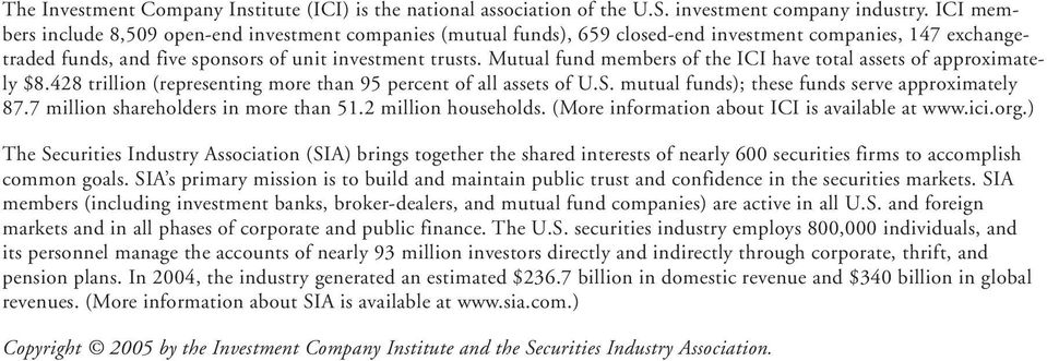 Mutual fund members of the ICI have total assets of approximately $8.428 trillion (representing more than 95 percent of all assets of U.S. mutual funds); these funds serve approximately 87.