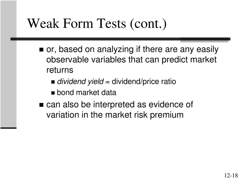 variables that can predict market returns dividend yield =