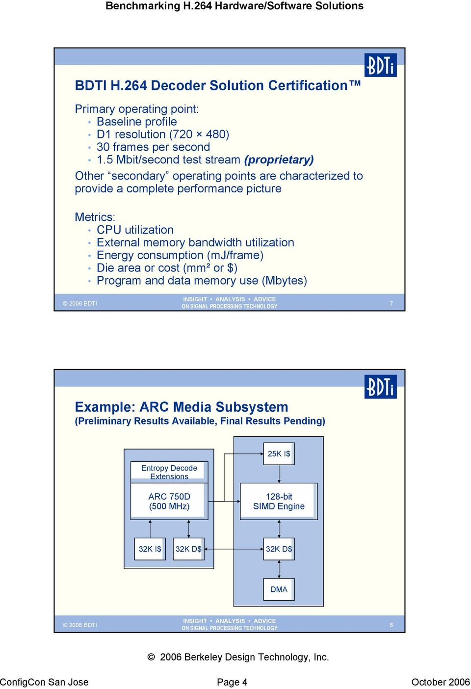 External memory bandwidth utilization Energy consumption (mj/frame) Die area or cost (mm² or $) Program and data memory use (Mbytes) 7 Example: ARC Media