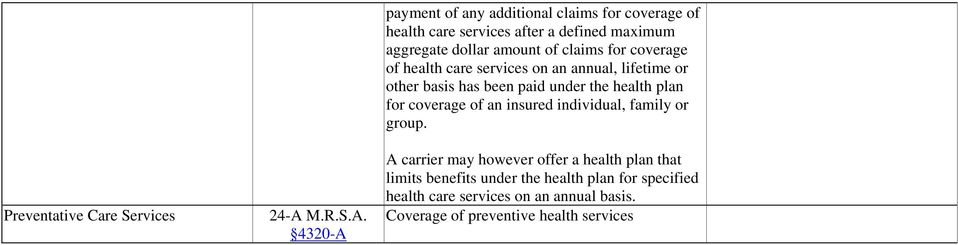 paid under the health plan for coverage of an insured individual, family or group.