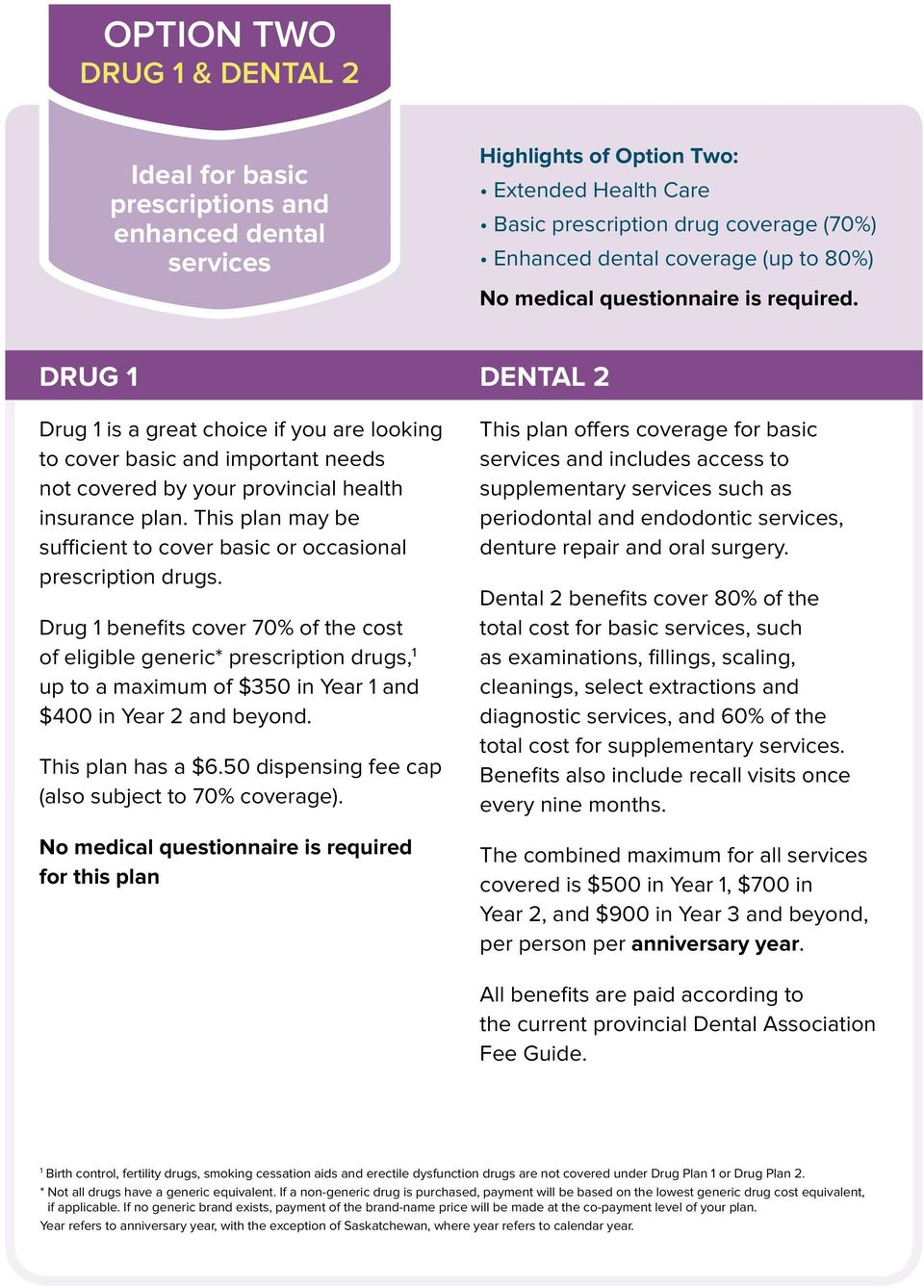 This plan may be sufficient to cover basic or occasional prescription drugs.