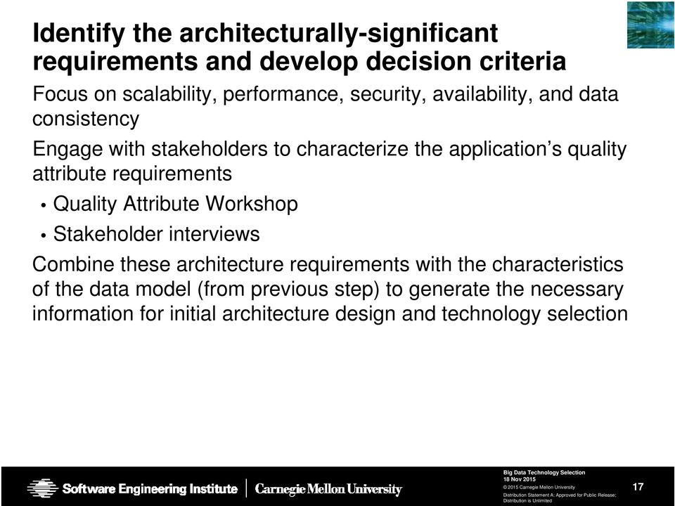 requirements Quality Attribute Workshop Stakeholder interviews Combine these architecture requirements with the