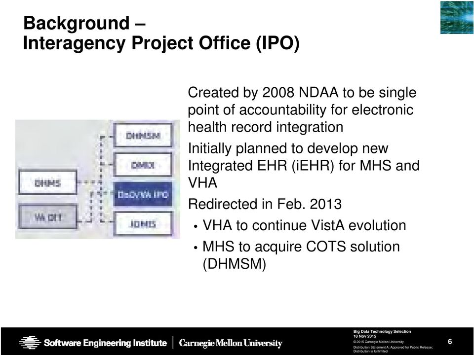 Initially planned to develop new Integrated EHR (iehr) for MHS and VHA