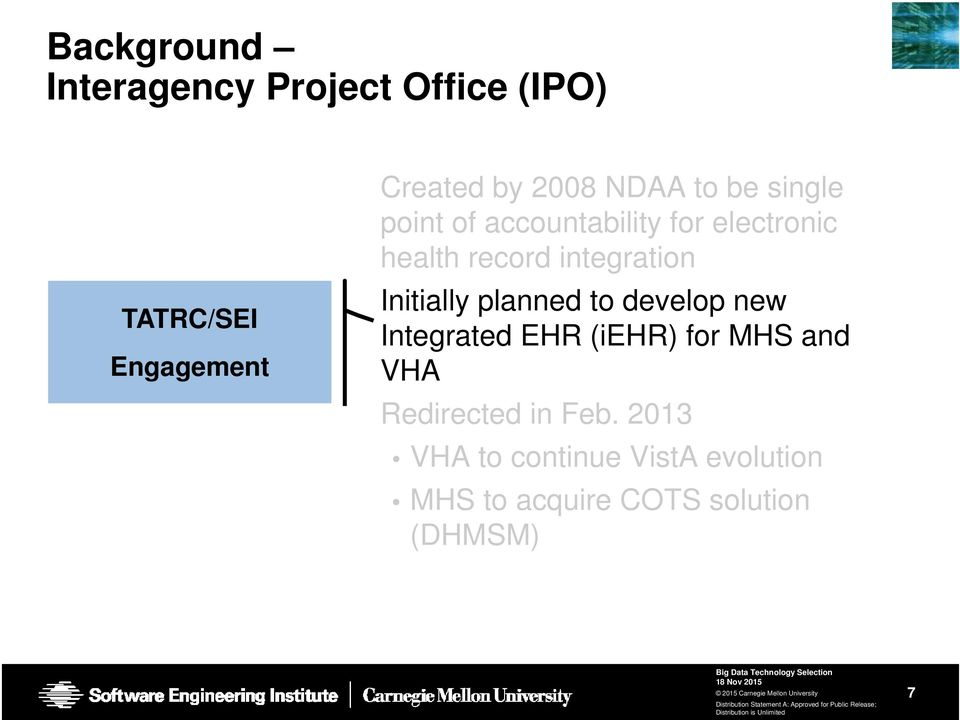 Initially planned to develop new Integrated EHR (iehr) for MHS and VHA Redirected