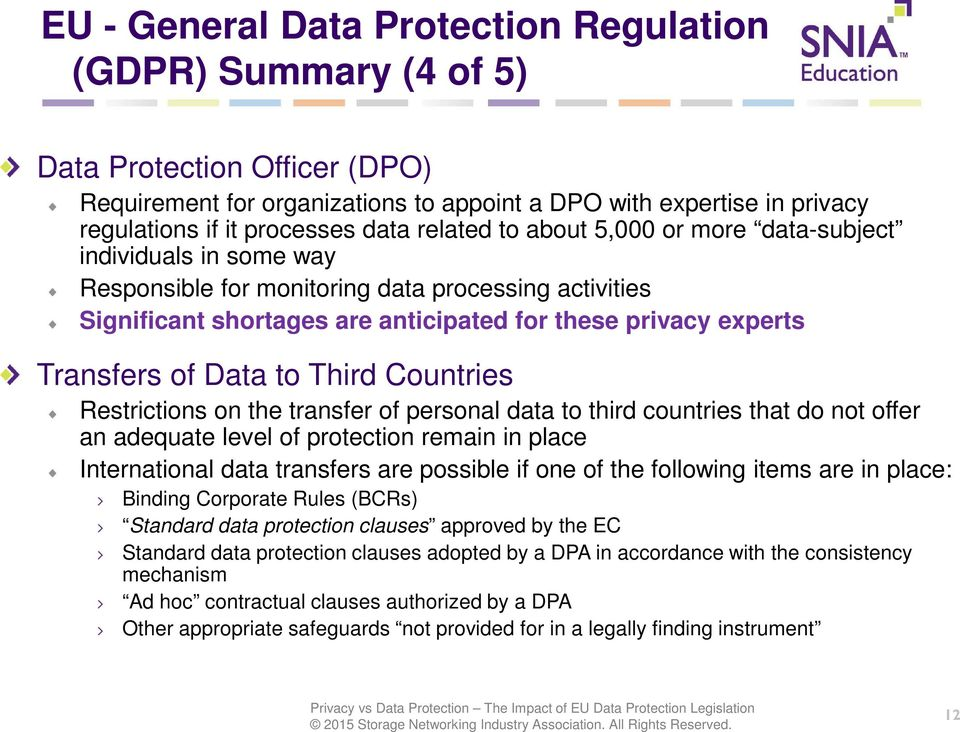 Data to Third Countries Restrictions on the transfer of personal data to third countries that do not offer an adequate level of protection remain in place International data transfers are possible if