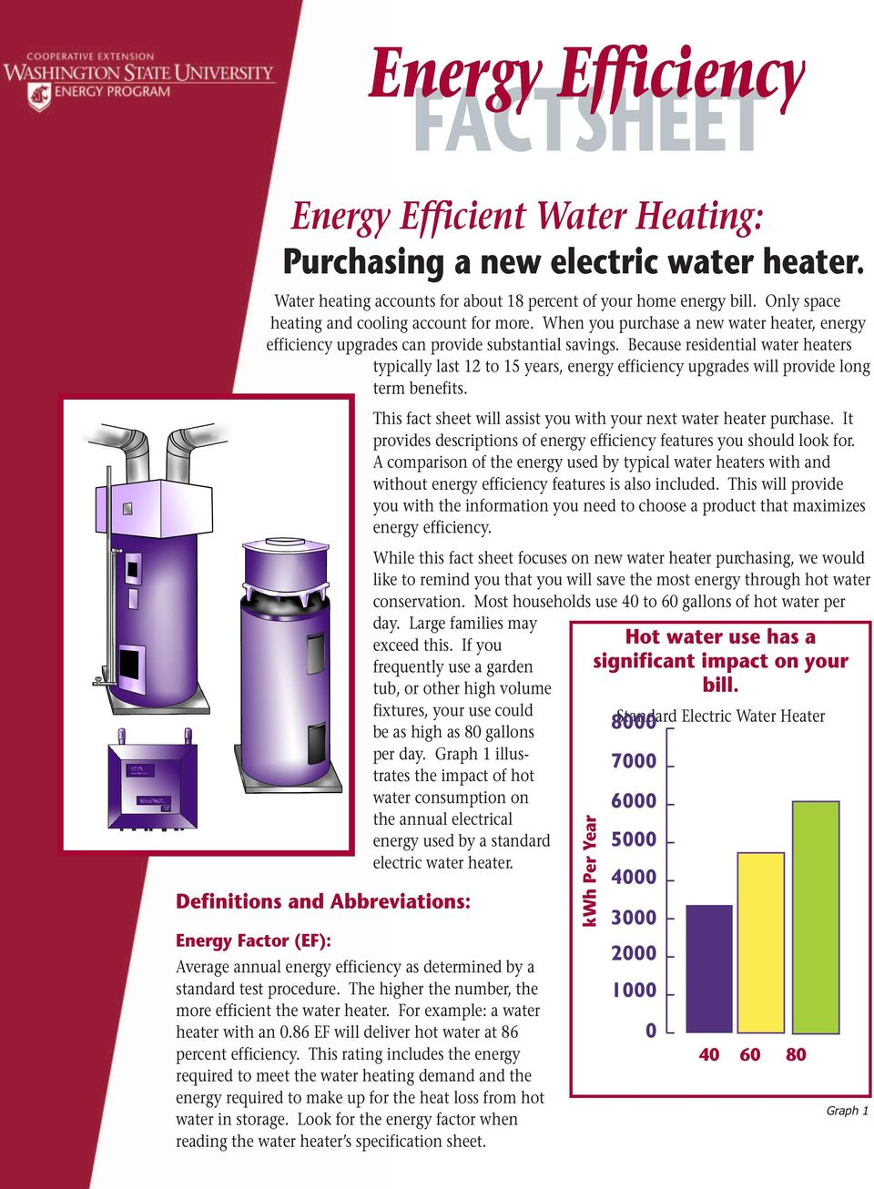 Because residential water heaters typically last 12 to 15 years, energy efficiency upgrades will provide long term benefits. This fact sheet will assist you with your next water heater purchase.