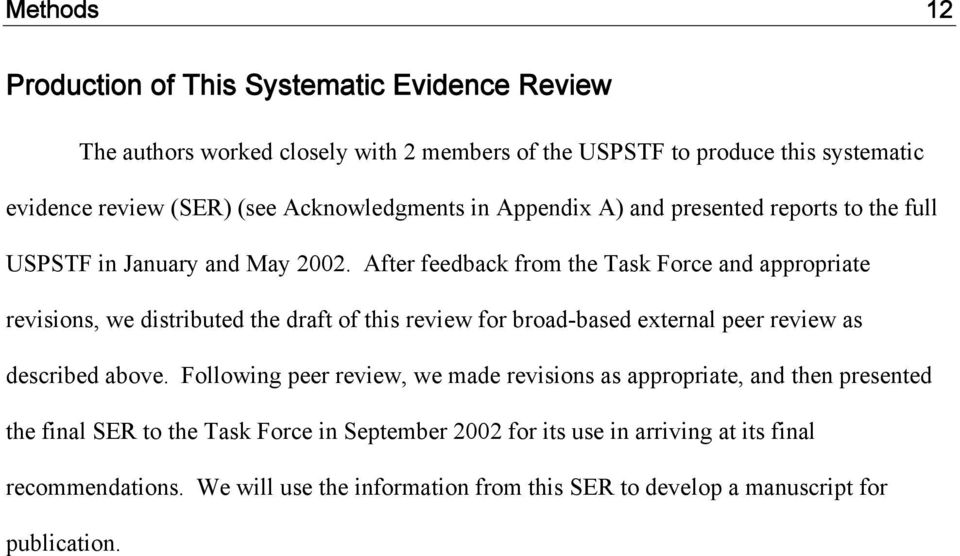 After feedback from the Task Force and appropriate revisions, we distributed the draft of this review for broad-based external peer review as described above.