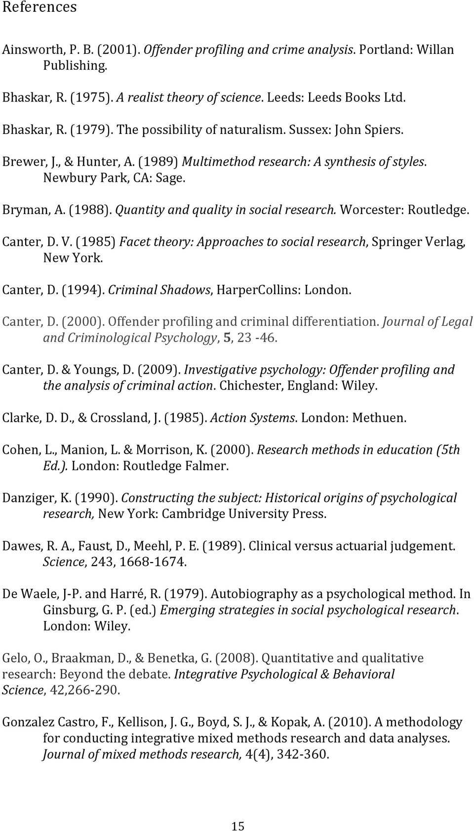 (1985)Facettheory:Approachestosocialresearch,SpringerVerlag, NewYork. Canter,D.(1994).CriminalShadows,HarperCollins:London. Canter,D.(2000).Offenderprofilingandcriminaldifferentiation.