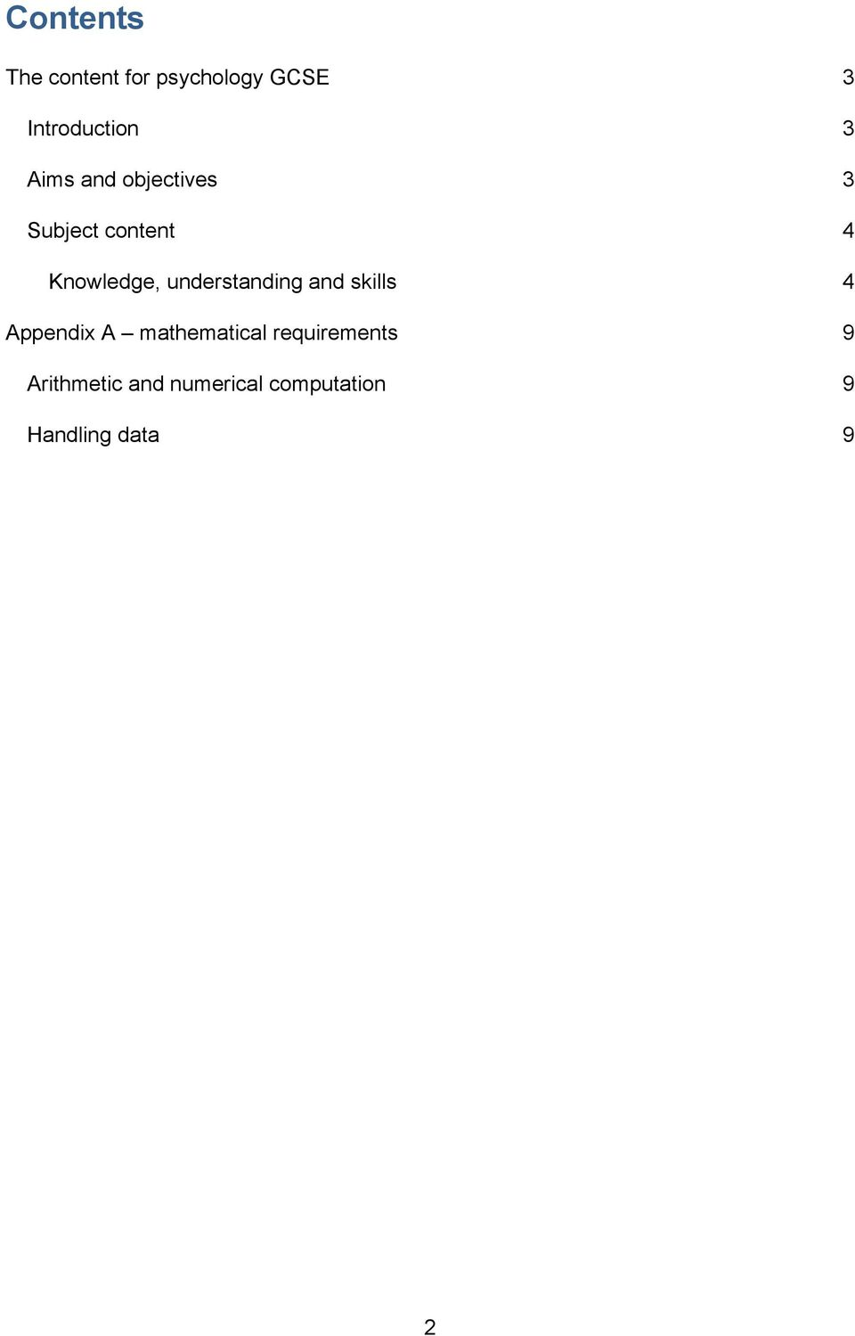 understanding and skills 4 Appendix A mathematical