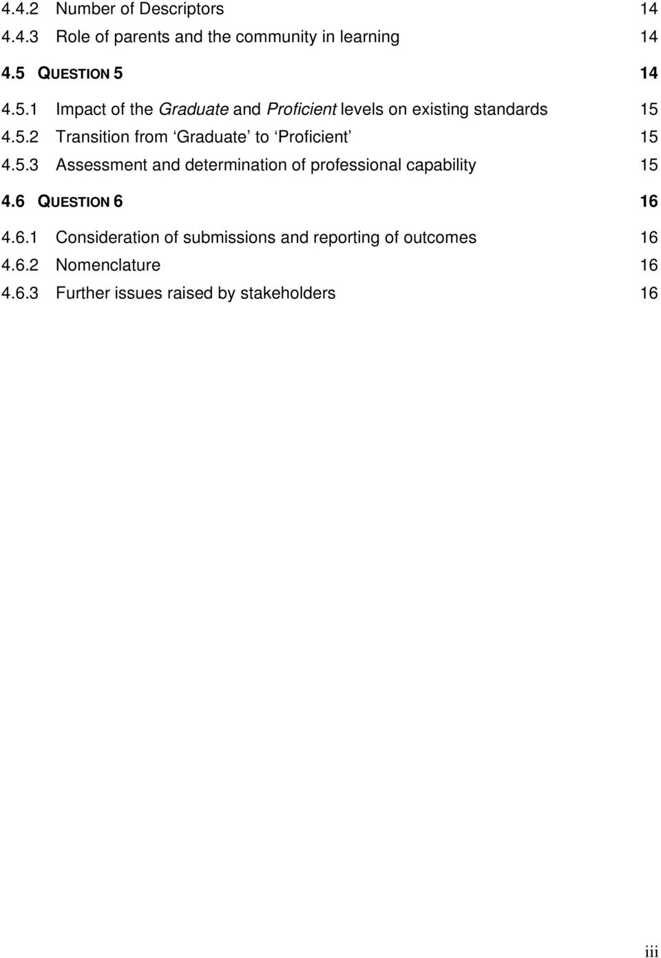 5.3 Assessment and determination of professional capability 15 4.6