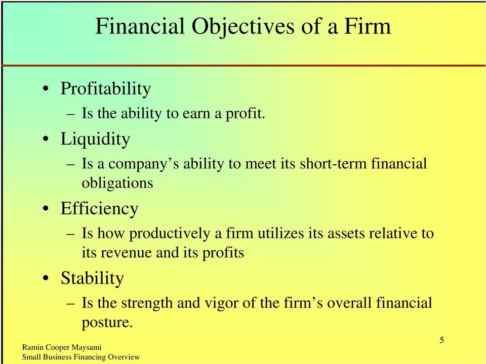 Efficiency Is how productively a firm utilizes its assets relative to its revenue