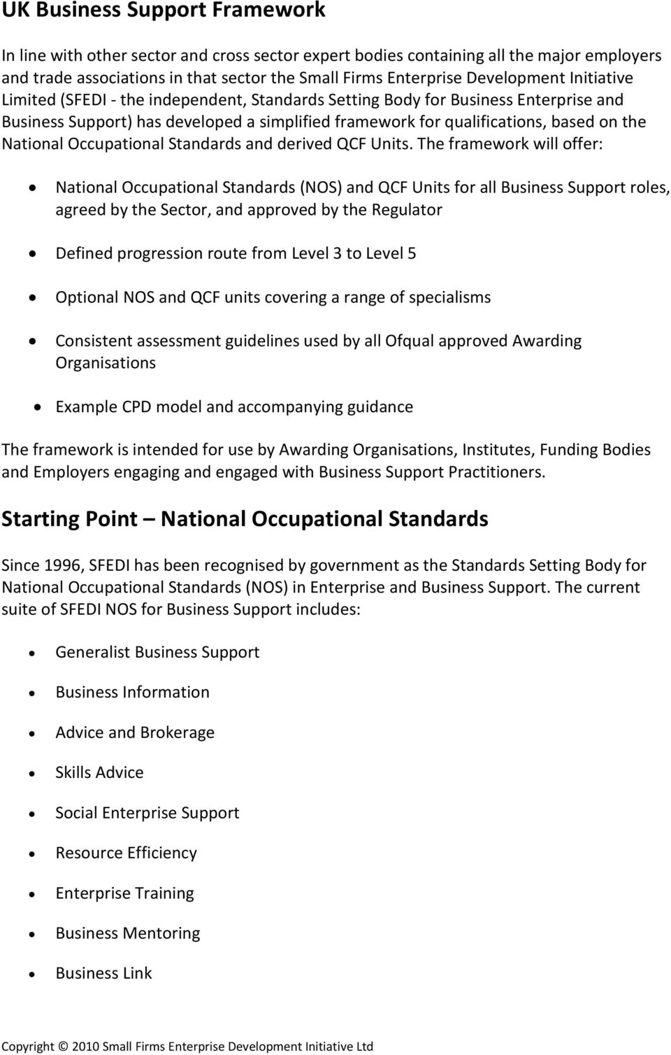 Occupational Standards and derived QCF Units.
