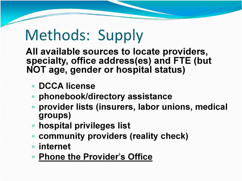 phonebook/directory assistance provider lists (insurers, labor unions, medical