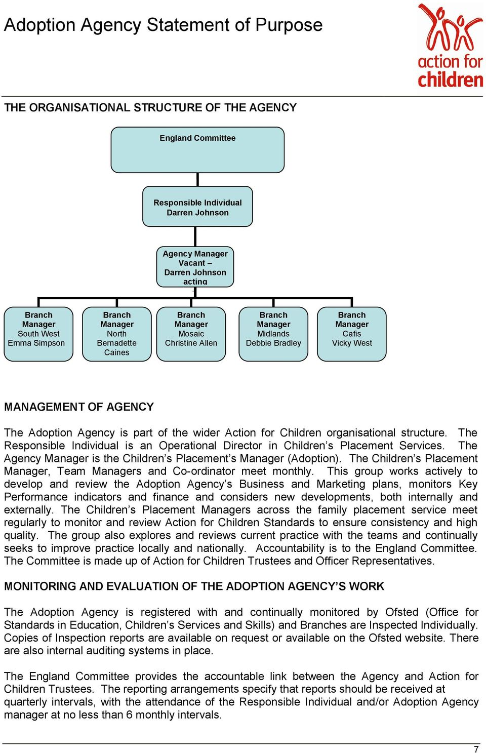 Action for Children organisational structure. The Responsible Individual is an Operational Director in Children s Placement Services.