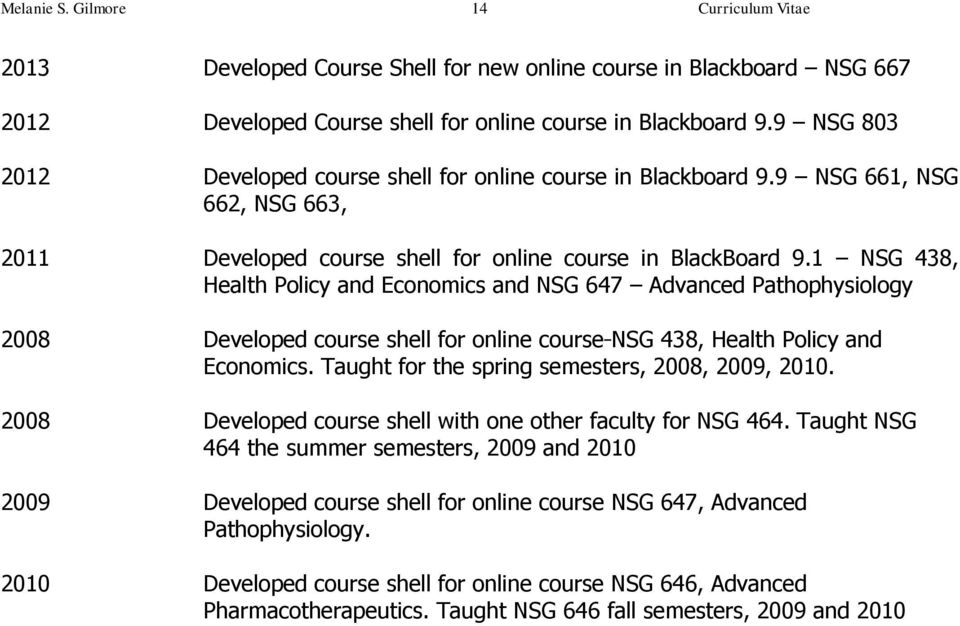 1 NSG 438, Health Policy and Economics and NSG 647 Advanced Pathophysiology 2008 Developed course shell for online course NSG 438, Health Policy and Economics.