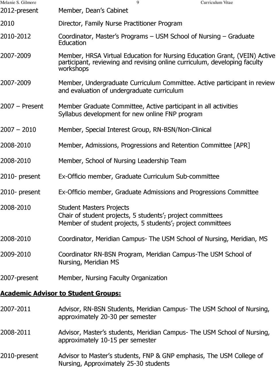 Active participant in review and evaluation of undergraduate curriculum 2007 Present Member Graduate Committee, Active participant in all activities Syllabus development for new online FNP program