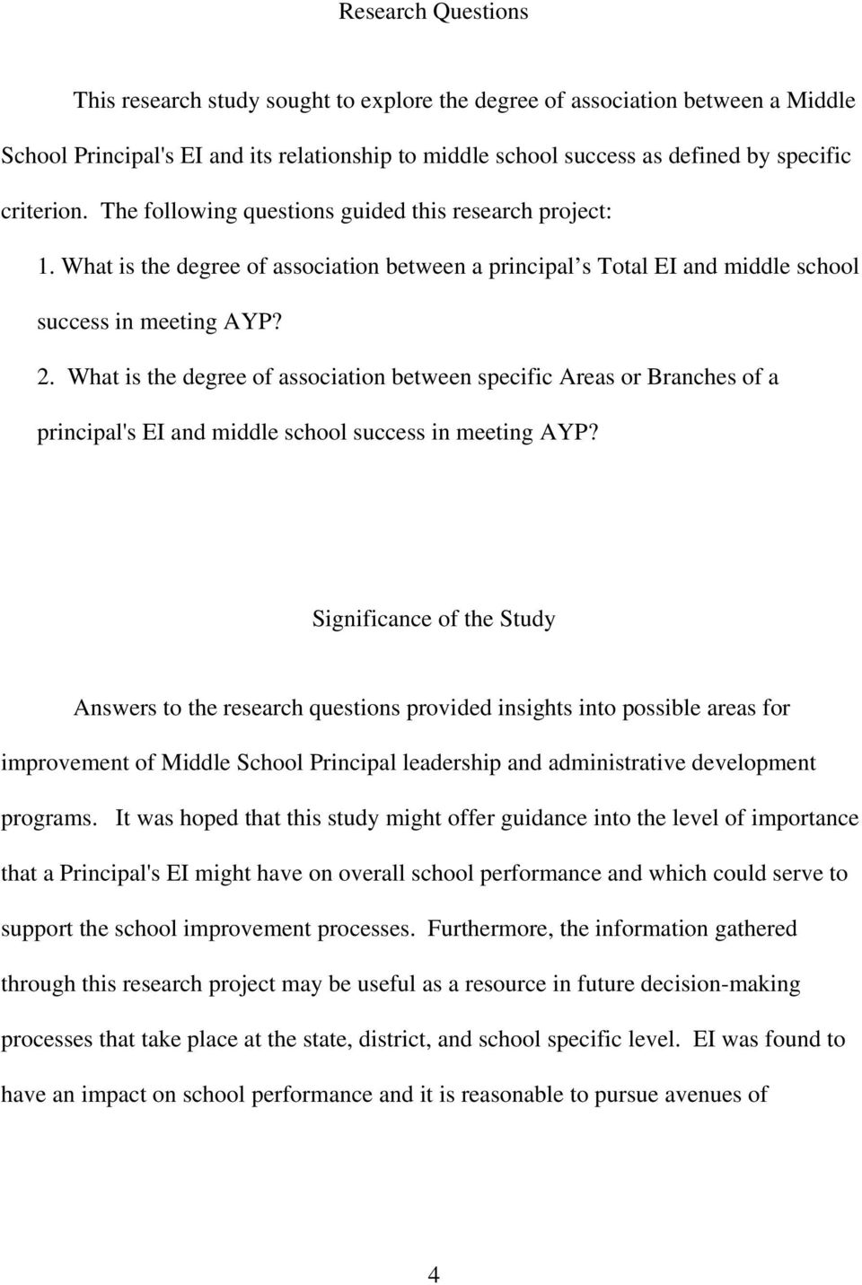What is the degree of association between specific Areas or Branches of a principal's EI and middle school success in meeting AYP?