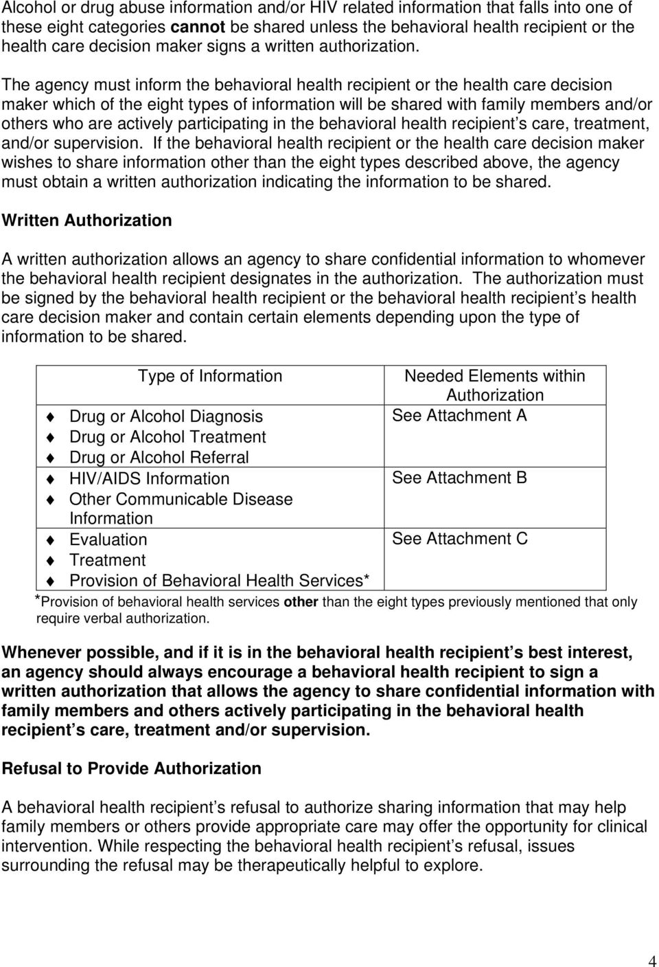 The agency must inform the behavioral health recipient or the health care decision maker which of the eight types of information will be shared with family members and/or others who are actively