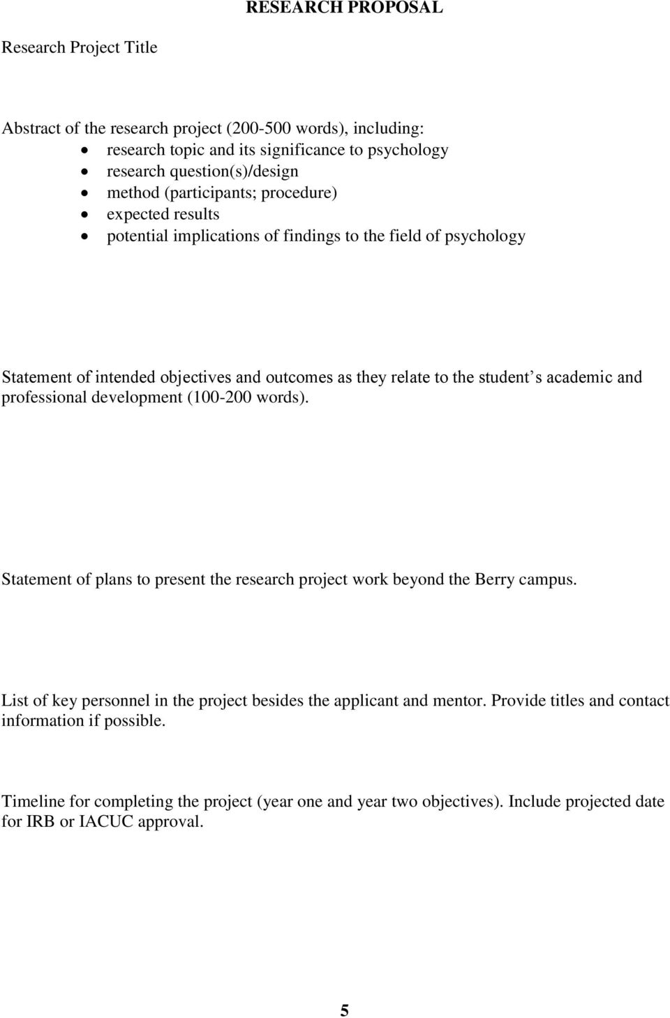 academic and professional development (100-200 words). Statement of plans to present the research project work beyond the Berry campus.