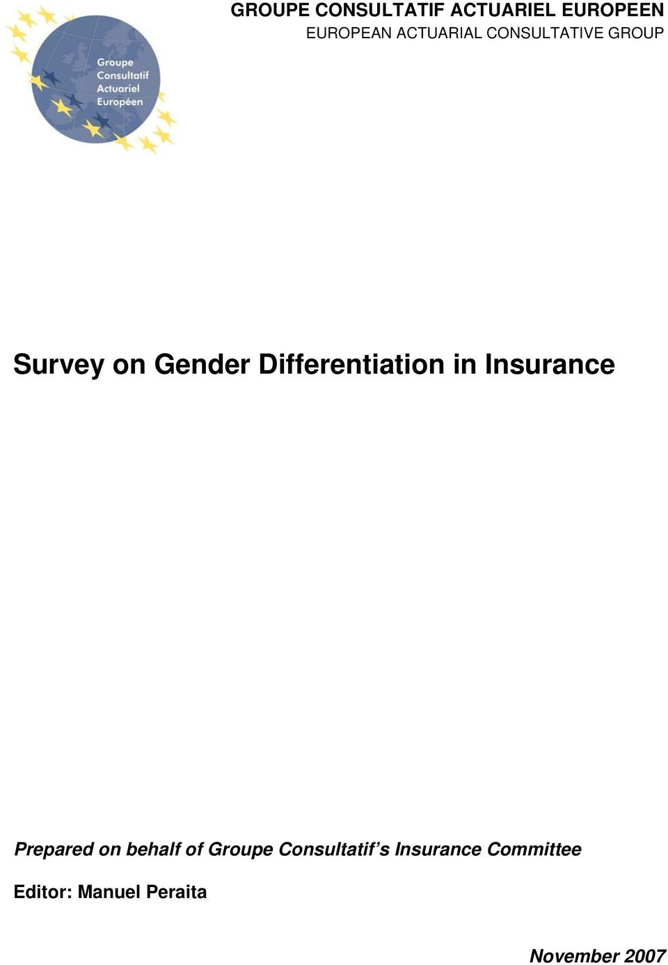 Differentiation in Insurance Prepared on behalf of