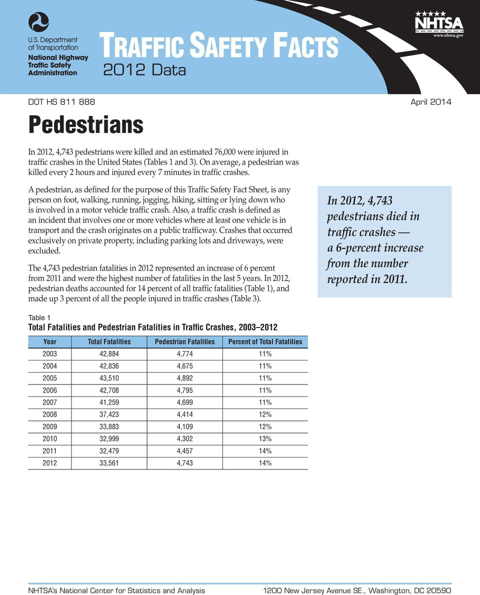 A pedestrian, as defined for the purpose of this Traffic Safety Fact Sheet, is any person on foot, walking, running, jogging, hiking, sitting or lying down who is involved in a motor vehicle traffic
