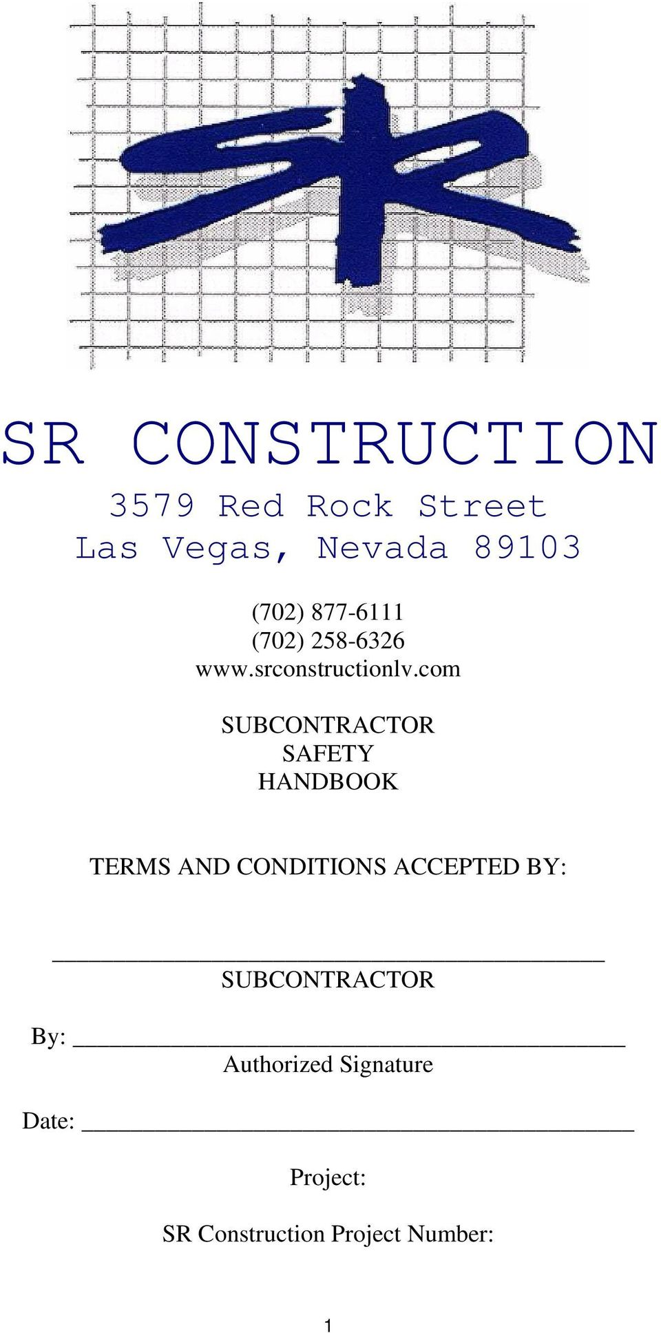 com SUBCONTRACTOR SAFETY HANDBOOK TERMS AND CONDITIONS ACCEPTED