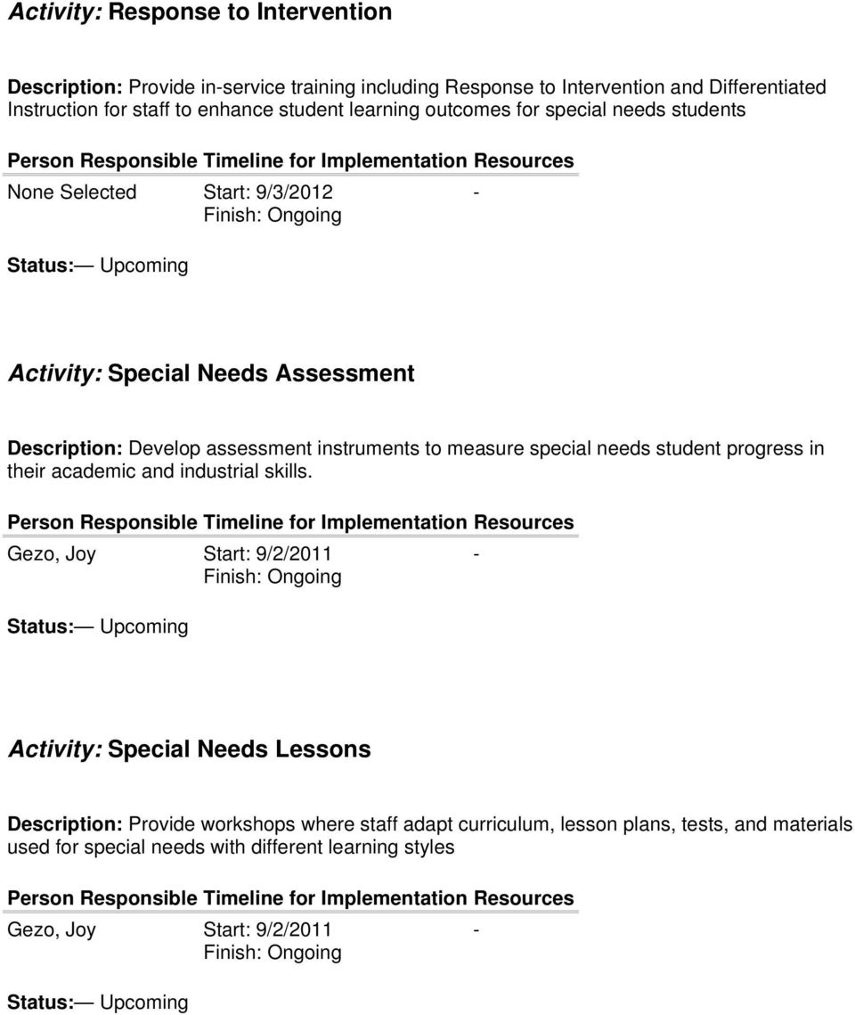 instruments to measure special needs student progress in their academic and industrial skills.