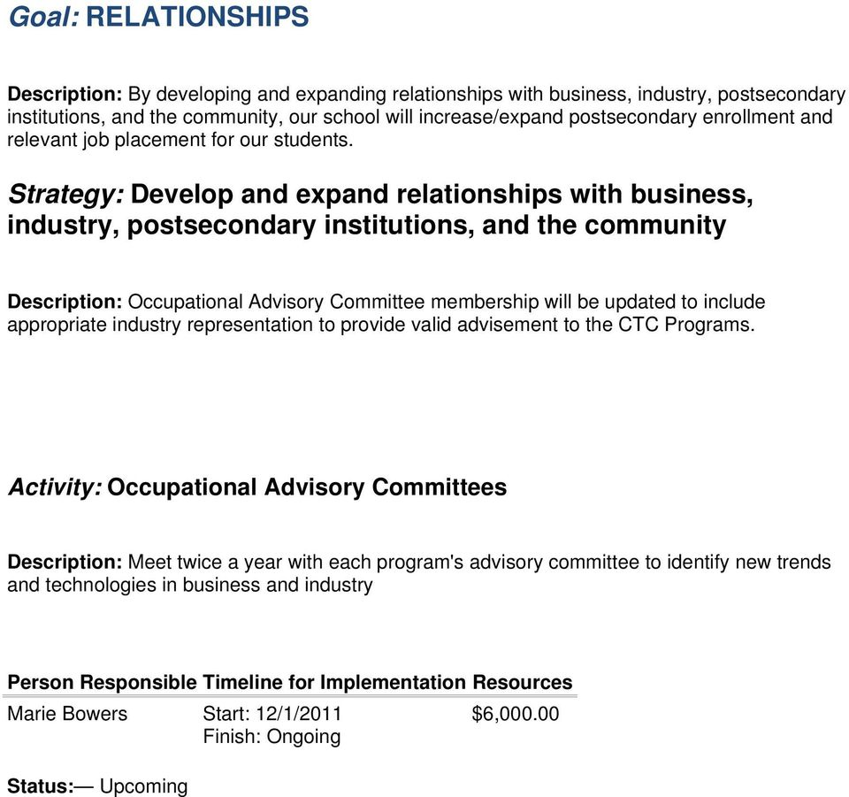 Strategy: Develop and expand relationships with business, industry, postsecondary institutions, and the community Description: Occupational Advisory Committee membership will be updated
