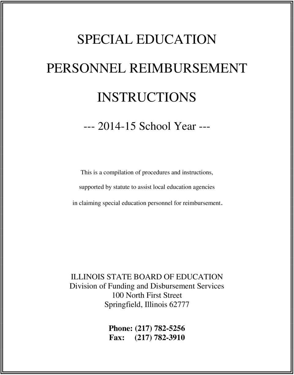 special education personnel for reimbursement.