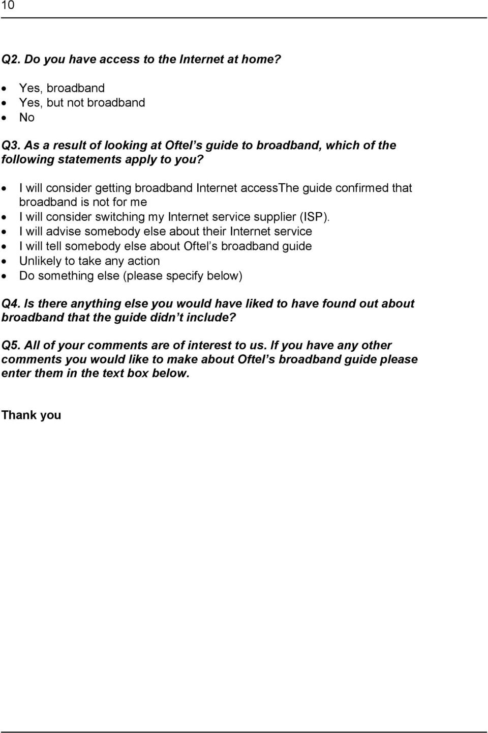 I will advise somebody else about their Internet service I will tell somebody else about Oftel s broadband guide Unlikely to take any action Do something else (please specify below) Q4.