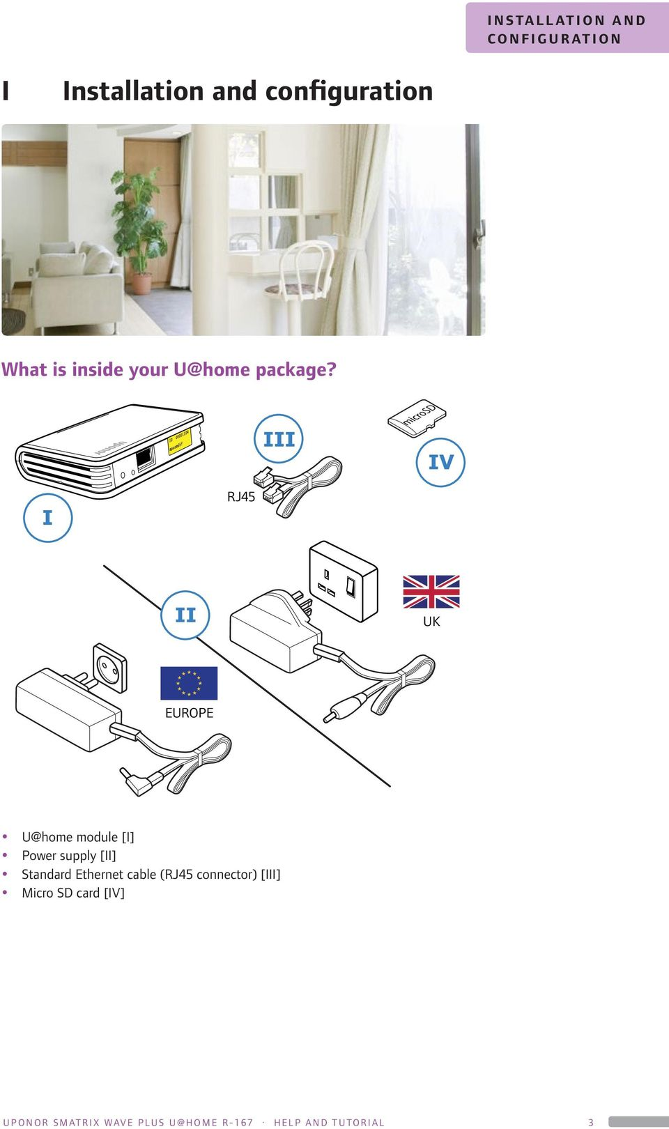 RJ45 UK EUROPE U@home module [I] Power supply [II] Standard Ethernet