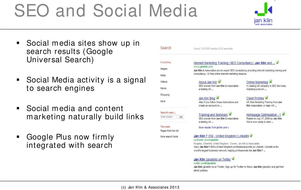 signal to search engines Social media and content marketing