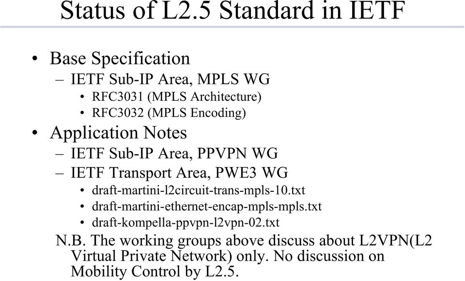 Encoding) Application Notes IETF Sub-IP Area, PPVPN WG IETF Transport Area, PWE3 WG