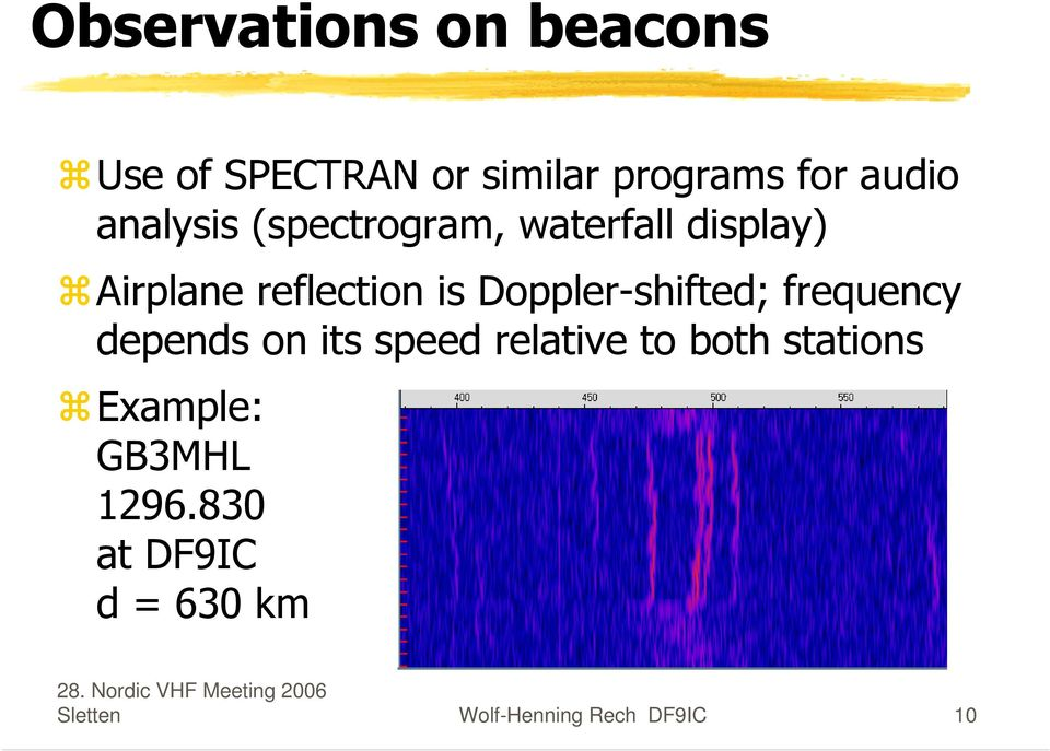 Doppler-shifted; frequency depends on its speed relative to both