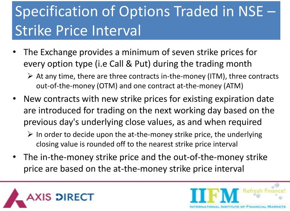 with new strike prices for existing expiration date are introduced for trading on the next working day based on the previous day's underlying close values, as and when required In order to