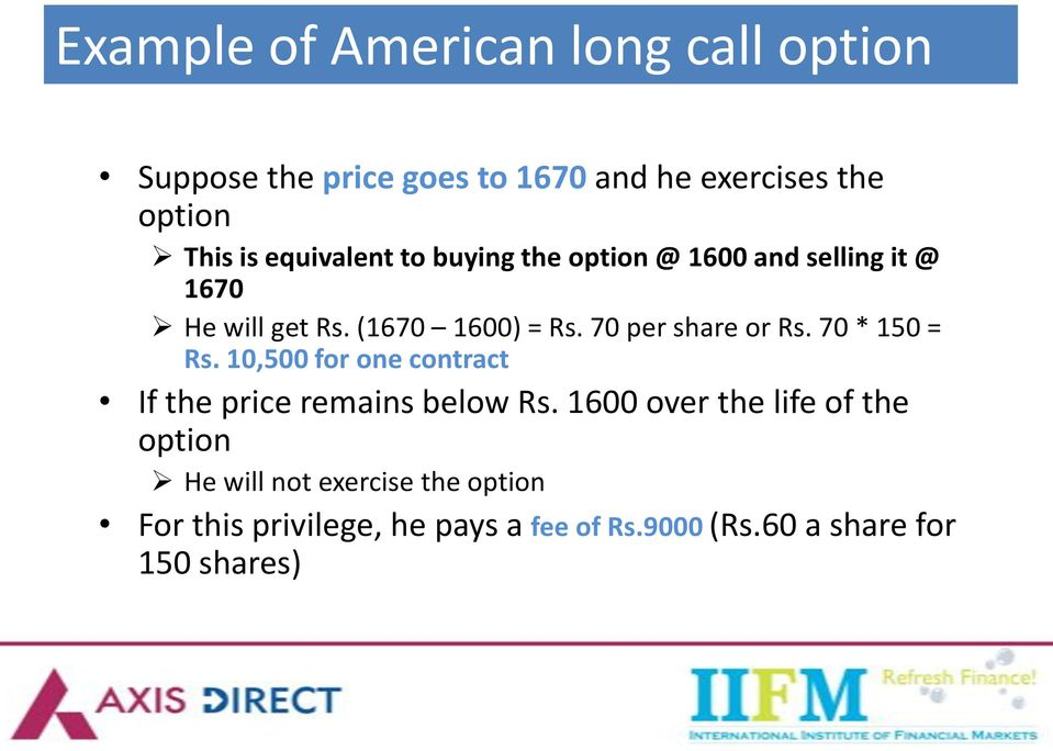 70 per share or Rs. 70 * 150 = Rs. 10,500 for one contract If the price remains below Rs.