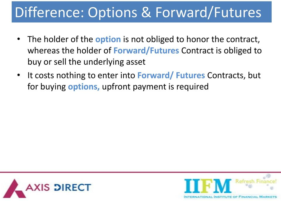 Contract is obliged to buy or sell the underlying asset It costs nothing to