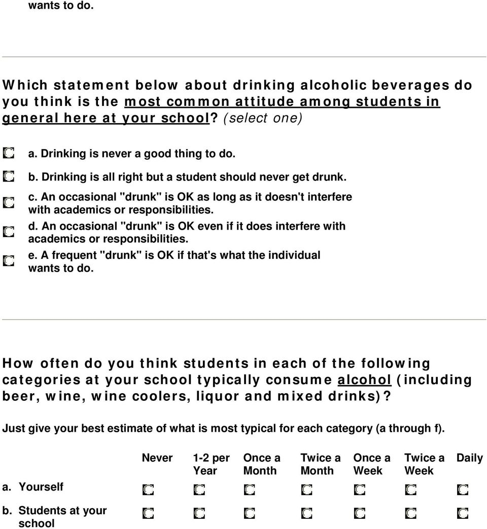 "d. An occasional ""drunk"" is OK even if it does interfere with academics or responsibilities. e. A frequent ""drunk"" is OK if that's what the individual wants to do."