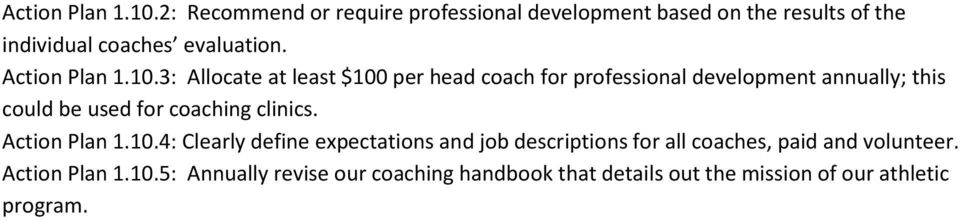 3: Allocate at least $100 per head coach for professional development annually; this could be used for coaching clinics.
