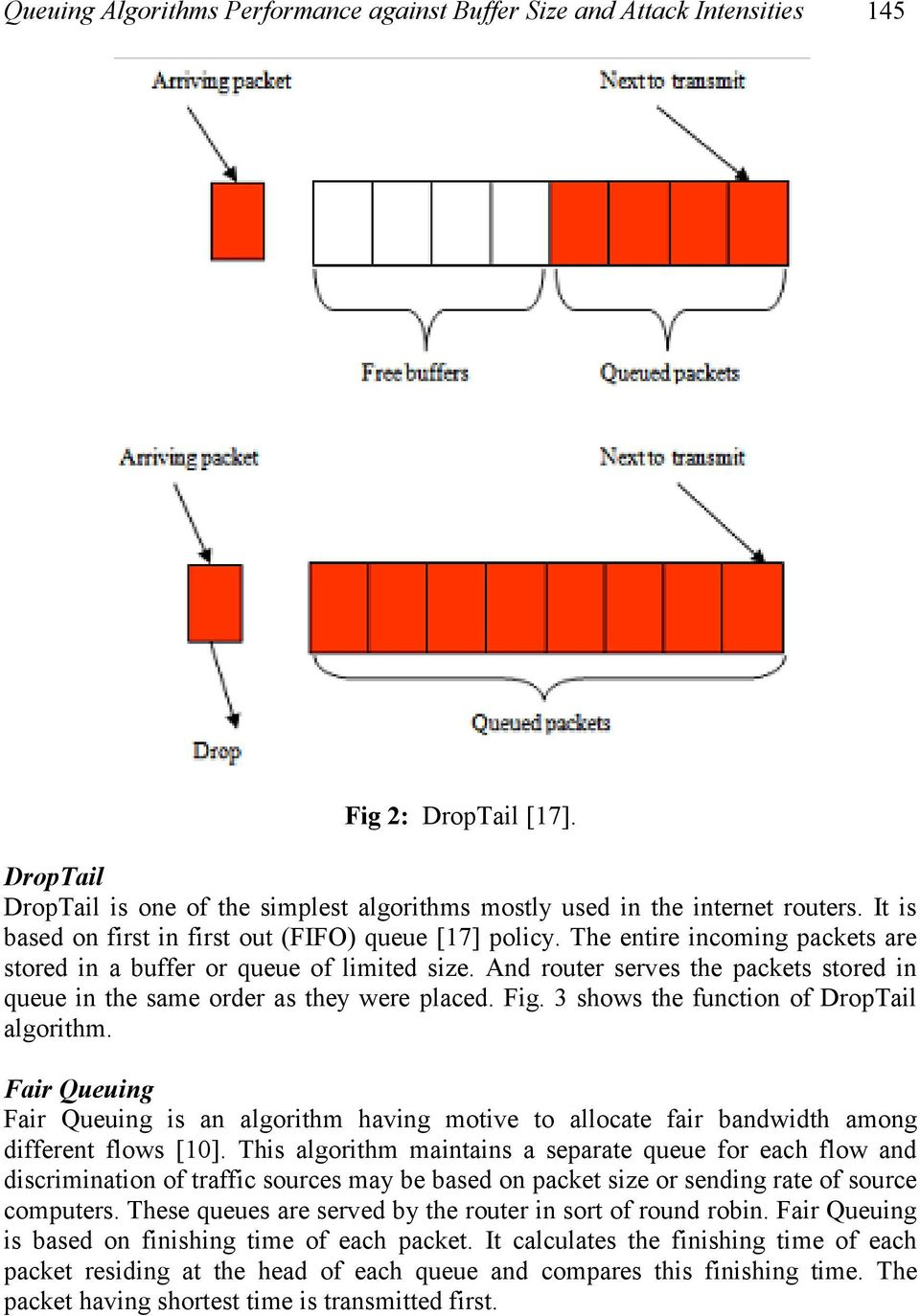 And router serves the packets stored in queue in the same order as they were placed. Fig. 3 shows the function of DropTail algorithm.