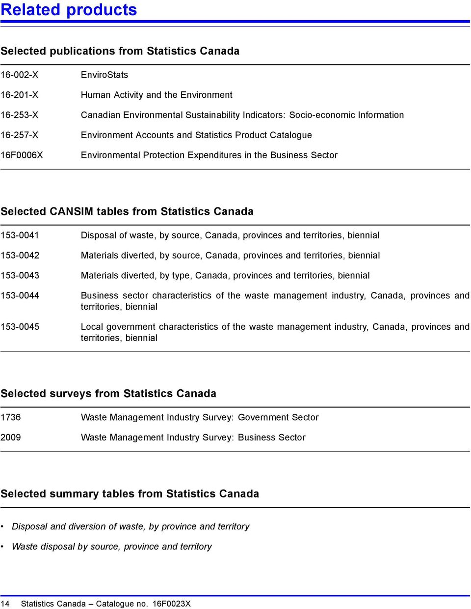 153-0041 Disposal of waste, by source, Canada, provinces and territories, biennial 153-0042 Materials diverted, by source, Canada, provinces and territories, biennial 153-0043 Materials diverted, by